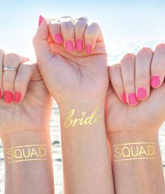 Bachelorette tattoo set perfect for your celebration! These Bride Squad tattoos come with one gold Bride tattoo, and make such fun bachelorette favors that everyone will love. Give them to your girls as bridesmaid gifts. Squad goals. ;)  INCLUDES: 11 x Squad tattoos, 1 x Bride Tattoo  - 1.5 Wide. Great size for the wrist - Intended to last 2-3 days - Waterproof  ----------------------------------------------------------------------------------------------- N E E D * M O R E ?  SINGLES: Add…