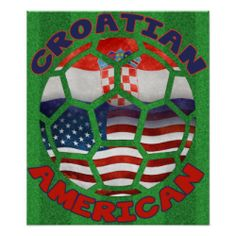 Croatian American #Soccer Ball Poster. To see this design on a range of other products, please visit my store: www.zazzle.com/celticana*/  #Ancestry #Posters #CroatianAmerican