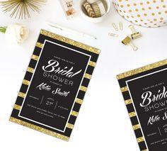 Gold Glitter Bridal Shower Invitation,  Stripes with Gold Glitter Invitation, Gold Any Party, Bachelorette, Bridal Shower, DIGITAL