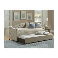 Jamie Daybed w/ Trundle - Hillsdale Furniture bedroom design comes in a space-saving package with the Jamie Daybed. Finished in a goes-with-everything pillowed beige fabric, the Jamie Daybed adds extra sleep space and style all at once. Hillsdale Furniture, Classic Bedroom Design, Furniture, Daybed, Bed, Trundle Bed, Twin Mattress Size, Daybed With Trundle, Home Decor