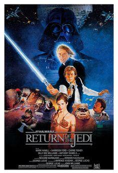 Return of the Jedi - Luke Skywalker - Darth Vader - Ewoks - 13x19  Classic Sci Fi  Movie Poster Art - Starwars Han Solo - Jabba the Hut