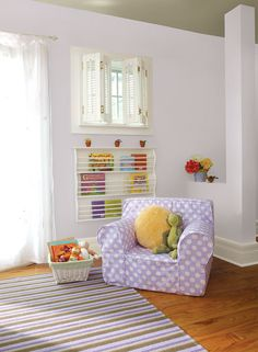 Benjamin Moore Paint Colors - Purple Kid's Room Ideas - Cozy Purple Kids' Room - Paint Color Schemes . . . . . For a look on the lighter side, pair a sweet, pale purple with a warm beige ceiling. . . . . . Walls - Slip (AF-605); Trim - Cotton Tail (2155-70); Ceiling - Alexandria Beige (HC-77).