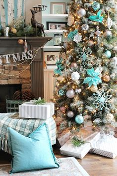 Balsam Hill Frosted Sugar Pine Tree in pops of blues, golds, and copper.