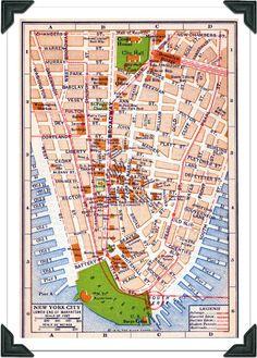 Vintage New York Map.: