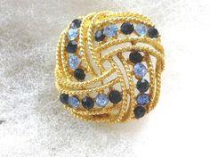 Vintage Lisner Gold Tone Light Blue & Dark Blue Rhinestone Brooch Pin L@@K #Lisner