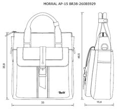 Morrales MORRAL AP-15 BR38-260B5929 | Renzo Costa Flat Drawings, Flat Sketches, Croquis Fashion, Fashion Sketches, Drawing Bag, Bag Illustration, Leather Bag Pattern, Technical Drawing, Backpack Purse