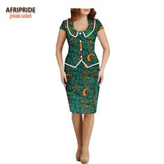 2018 summer women 2 pieces skirt set AFRIPRIDE peter pan collar single breasted top+knee length pencil skirt women set - Daily Buy Tips Latest African Fashion Dresses, African Dresses For Women, African Print Fashion, African Attire, Ankara Fashion, African Women, African Clothes, Africa Fashion, African Prints