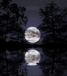 When the surface of the lake is still, it reflects the full moon above perfectly. When the water is troubled, the one moon  appears as many.