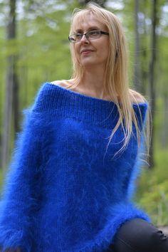Off-shoulder cropped summer mohair sweater in royal Fluffy Sweater, Angora Sweater, Women's Sweaters, Cropped Sweater, Gorgeous Women, Female Models, Knitwear, Women Wear, Pullover