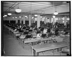 In November 1937, the U.S. Census Bureau conducted an unemployment census to determine the impact of the depression and the Roosevelt Administration's relief efforts on American workers. These census clerks began tabulating the returns from the census on November 24, 1937.Learn more at http://www.census.gov/history/