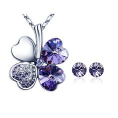 Gold Plated Swarovski Elements Crystal Heart Shaped Four Leaf Clover Pendant Necklace and Stud Earrings Jewelry Set (Purple) ** Check out this great product.