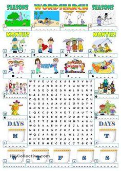 Kindergarten free seasons worksheets for esl english teaching materi. Education English, English Class, English Lessons, Teaching English, Learn English, English Games, English Activities, Activities For Kids, English Vocabulary