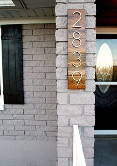 Painted brick & some good looking house numbers. Exterior Paint Colors For House, Paint Colors For Home, Exterior Colors, Exterior Design, Paint Colours, Grey Exterior, Diy Exterior Brick Painting, How To Paint A Brick House, Stained Brick Exterior