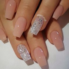 TheGlitterNail Get inspired! @theglitternail Instagram ✨ REPOST - - • - - Peachy Nude and Silver Glitter on Coffin Nails ✨ - - • - - Picture and Nail De... #yooying
