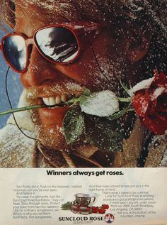 Funny Vintage Advertising Suncloud Rose SunFilters Sunglasses Man with Rose in Teeth 1980s Ski Fashion Photo Print Ad, Wall Art Decor on Etsy, 5,94 €