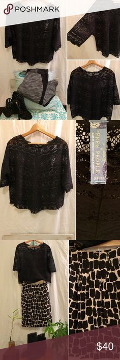 🖤FREE PEOPLE Black Lace Top Stunning, delicate, flawless, semi-sheer black lace top -- slightly cropped w/ 3/4 length sleeves. Super chic & so pretty! Can easily be dressed up or down. Perfect for Fall! Hardly ever worn -- excellent condition -- no flaws! 🌟PLEASE NOTE: All items in pics are also available for sale in my closet! Great deals on bundles + I welcome all offers! Free People Tops