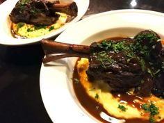 A Food Lover's Delight offers this Braised Lamb Shanks recipe as well as advice and discussion on all topics of delight to a food lover. Braised Pork Chops, Braised Lamb Shanks, Jackfruit Carnitas, Lamb Shank Recipe, Easy Mashed Potatoes, Buttered Noodles, Wine Sauce, Toasted Pecans, Chopped Salad