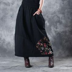 Classical Rose Prints Flare Maxi Skirt Quilted Cotton Linen Black Skirt #rose #black #maxi #skirt #flare #woman #vintage #quilted #cotton #plussize