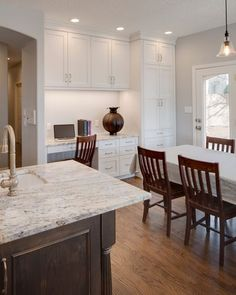 Transitional Kitchen/Desk Remodel by Kathy Jackson on Santa Monica. Paint Cabinets White, Painting Cabinets, Kitchen Desks, Kitchen Cabinets, Transitional Kitchen, White Paints, Santa Monica, Kitchen Remodel, Countertops