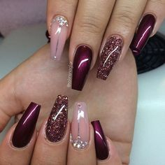 Red pink glitter coffin nails