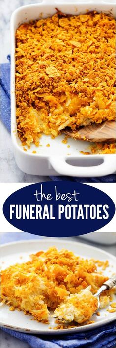 The Best Funeral Potatoes - A cheesy potato casserole full of melted cheese, sour cream, onions, and garlic with a crunchy top. This is full of amazing flavor and will be the star of the dinner table! The Best Funeral Potatoes Potato Dishes, Food Dishes, Side Dishes, Vegetable Dishes, Vegetable Recipes, Cheesy Potato Casserole, Cheesy Potatoes, Best Potato Casserole Recipe, Sour Cream Potatoes