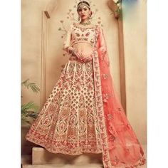 Bisque cream lehenga choli with dupatta. Work - Heavy embroidery work on lehenga, choli and dupatta. To complete the look matching choli and dupatta is available with this product. Designer Bridal Lehenga, Bridal Lehenga Choli, Indian Lehenga, Silk Lehenga, Designer Wedding Dresses, Anarkali, Bridal Dresses, Lehenga Wedding, Lehnga Dress