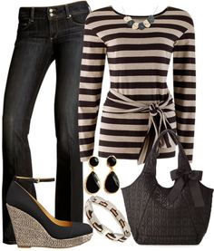 Get Inspired by Fashion: Casual Outfits | Stone Stripes with Black