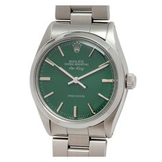 ROLEX Stainless Steel Air-King Wristwatch with custom Hunter Green Dial c. 1984