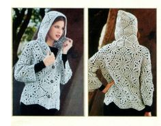 Crochet Cardigan with hood. Pattern not in English, but has charts
