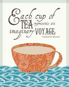 Printable Catherine Douzel 'Tea Voyage' Quote Print | Mom's Basement