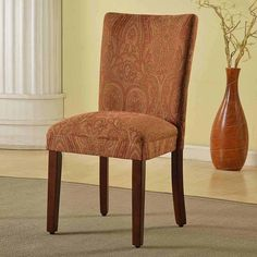 Classic Parsons red/gold Damask Dining Chair - HOMEPOP