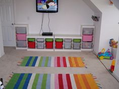 Kids Room, Charming Kids Room With Wall TV And Rug In Colorful Stiped Color Applying White Wall Color Furnished With Cupboards Of Kids Room Storage Completed: Wonderful The Two Plan for Creating the Kids Room Repository