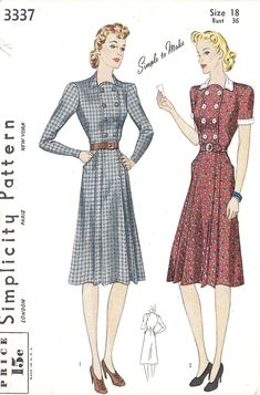 1940S Dress Patterns Free | 1940s Misses Tailored dress Vintage Sewing Pattern, Simplicity 3337 ...