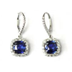 Cushion Cut Sapphire and Diamond Earrings Sapphire And Diamond Earrings, Custom Earrings, Royal Jewelry, Custom Jewelry Design, Beaded Bags, Something Blue, Cushion Cut, Sterling Silver Pendants, Jewelry Collection