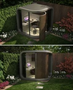 A dream retreat for people who work from home, the OfficePod is a self-contained backyard getaway with a modern look.