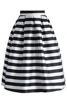 Stripes Full A-line Midi Skirt - Skirt - Bottoms - Retro, Indie and Unique Fashion
