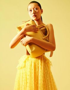 color boom / Vogue China Me 2017 Shades Of Yellow Color, Strapless Dress Formal, Formal Dresses, Vogue China, Yellow Submarine, Mellow Yellow, Ponytail, Spring Fashion, Crop Tops