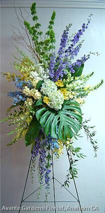 yellow blue and white Church Flowers, Funeral Flowers, Wedding Flowers, Purple Wedding, Funeral Floral Arrangements, Large Flower Arrangements, Exotic Flowers, Beautiful Flowers, Casket Flowers