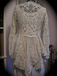 Romantic Sweater Coat, victorian, white cotton crocheted doilies, vintage upcycled. Crochet sweater altered by hand into coat. 11 doilies, dbl zig-zagged together.