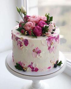 Pretty Birthday Cakes, Pretty Cakes, Cute Cakes, Yummy Cakes, Cake Decorating Designs, Cake Decorating Techniques, Beautiful Cake Designs, Beautiful Cakes, Amazing Wedding Cakes