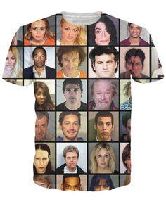 Celebrity Mugshot T-Shirt - Rage On! - The World's Largest All-Over Print Online Retailer