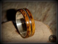 """Bentwood Ring - Buckeye Burl """"California"""" Wood Ring with Fine Silver Core and Guitar String Inlay - Bentwood Jewelry Designs - Custom Handcrafted Bentwood Wood Rings  - 5"""