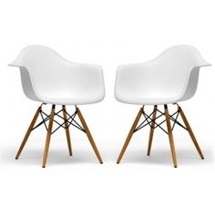 The retro simplicity of these classic white accent chairs will instantly enhance the modernity of your room. Each of these contemporary chairs is made from durable molded plastic with an ergonomically-shaped and curved seat. The legs are wooden and include steel hardware in black as well as black plastic tips to protect sensitive flooring. This item is sold as a set of two, and assembly is required.