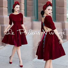 Le Palais Vintage Classical Velvet Deep Red Backless Dress - Designed by Winny
