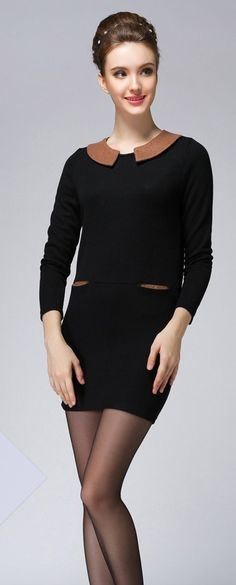 Long Sleeved Mini Dress with Pockets YRB0561 #black #fashion £13.00