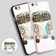 We VW Print Phone Ring Holder Soft TPU Silicone Case Cover for iPhone 4 4S 5C 5 SE 5S 6 6S 7 Plus