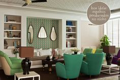 turquoise armchairs