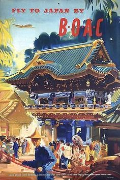 Vintage BOAC Flights to Japan Poster A3 by VintagePosterShopUK