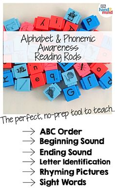 Reading Rods, Word Builders, Alphabet and Phonemic Awareness Linking Cubes for Early Reading & Word Work (Set of Small Group Activities, Spelling Activities, Alphabet Activities, Hands On Activities, Auditory Learning, Learning Phonics, Homeschool Supplies, Homeschool Kindergarten, Literacy Stations