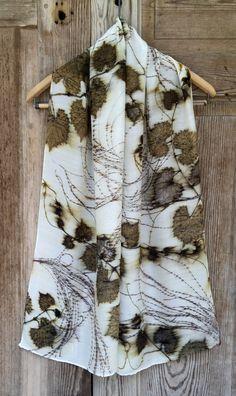 Botanical print scarf by Rebecca Yeomans